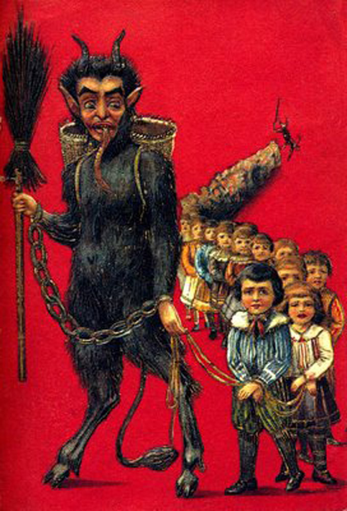 Krampus leading the children to their earned doom.
