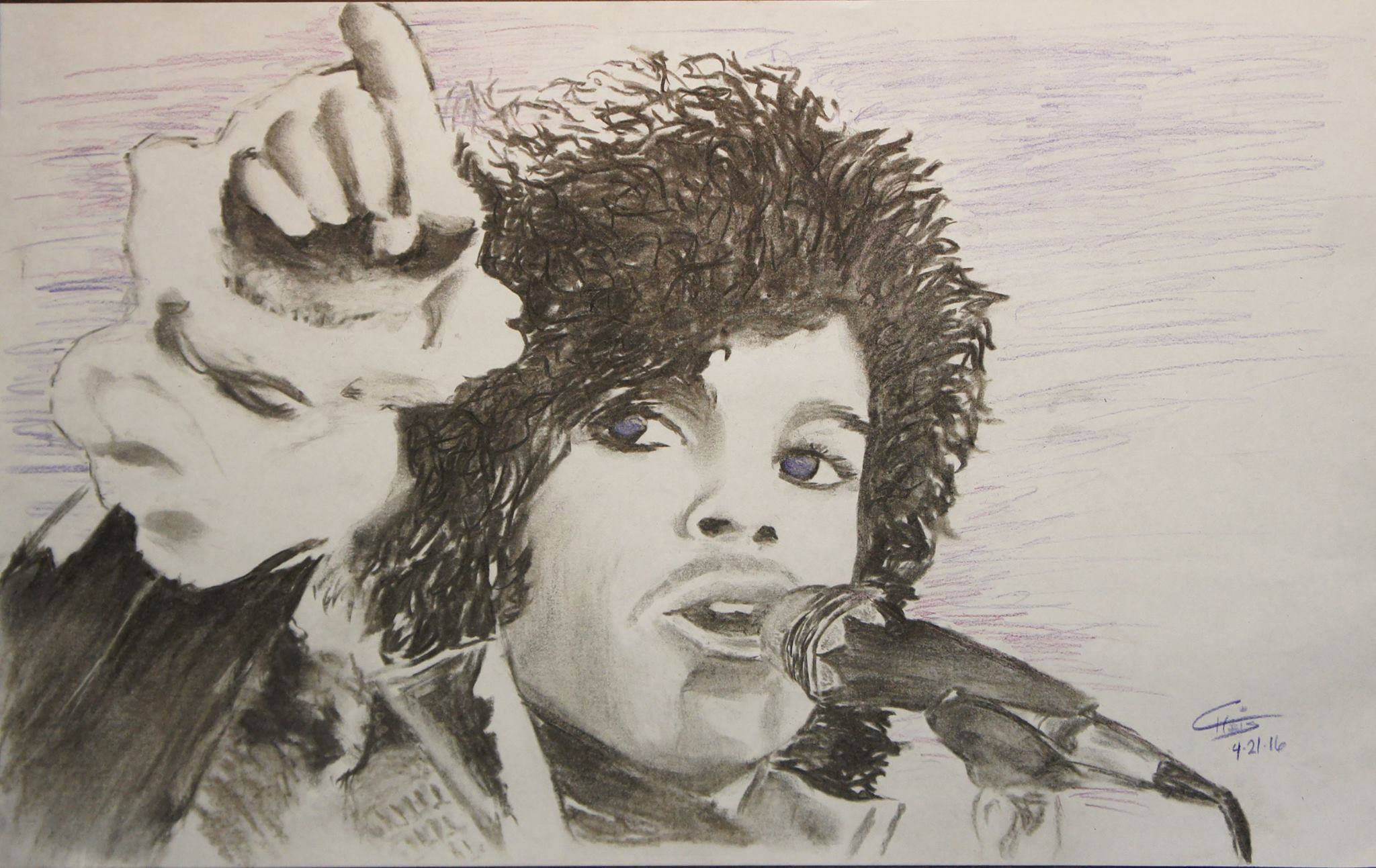 Prince - Charcoal and Colored Pencil
